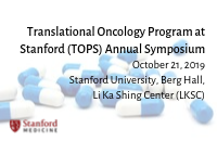 Translational Oncology Program at Stanford (TOPS) Annual Symposium